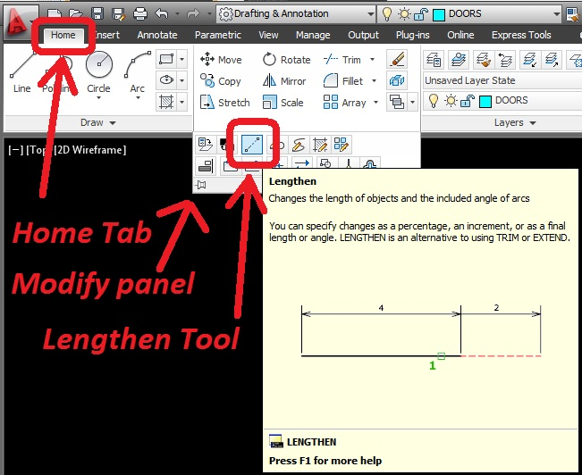 Drawing Angled Lines In Draftsight : Lengthen lines at an angle autocad tips