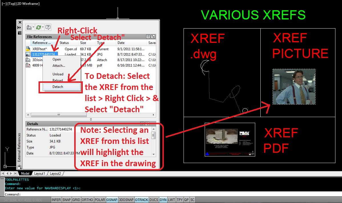 Autolisp detach all xrefs autocad tips for Fenetre xref autocad