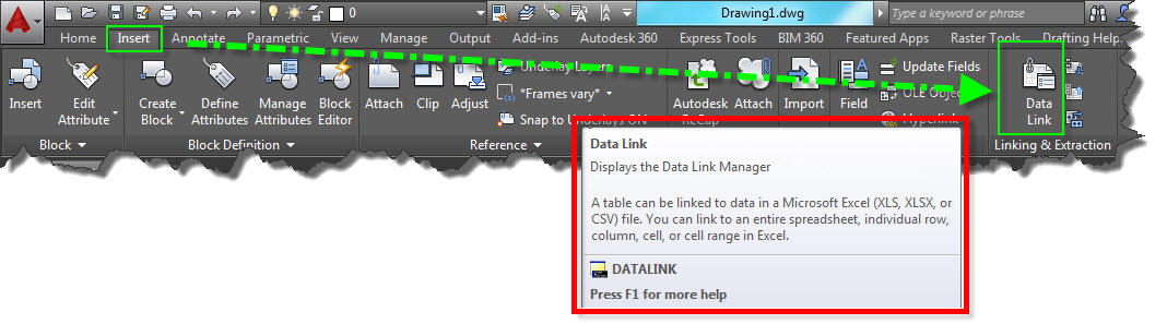 Creating A Data Link With An Excel Table | AutoCAD Tips