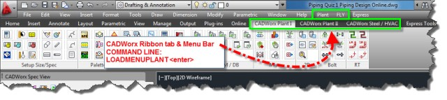 CADWorx ribbon tabs and menu