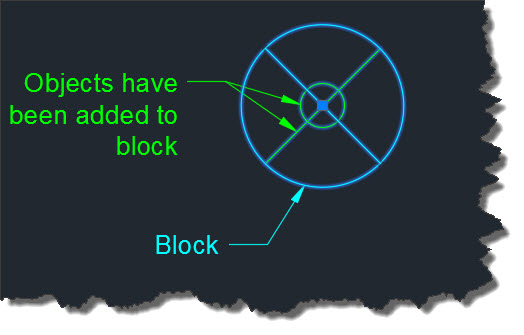 8 Objects have been added to block