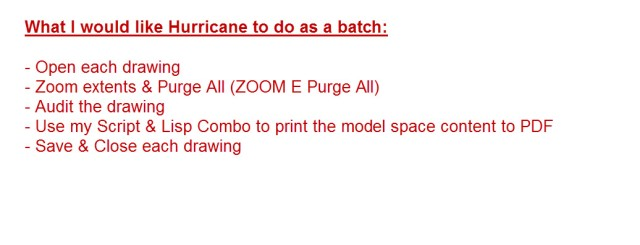 Hurricane List of batch steps