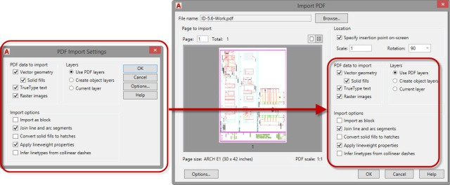 Import PDF Dialog box
